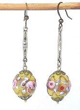 Art Deco yellow Venetian Wedding Cake glass bead earrings - match 1950 necklaces