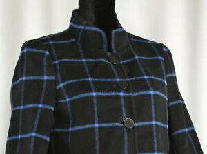 Unbranded Size 6-8/ Medium Black Blue Checkered Blazer Jacket Tunic High Collar