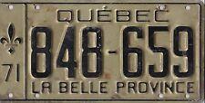 ❤❤❤❤ 🐦  AUTHENTIC CANADA 1971 QUEBEC LICENSE PLATE.