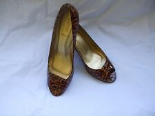 J. CREW Patent Leather Baby Leopard Print Open Toe Pumps size 11