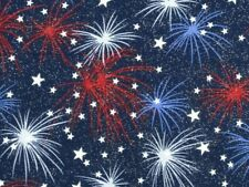 FAT QUARTER FIREWORKS JULY 4TH INDEPENDENCE DAY FABRIC TRADITION SILVER METALLIC