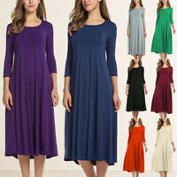 NEW Women Long Sleeve Shirt Long Maxi Boho Dress Casual Swing Skater Midi Dress