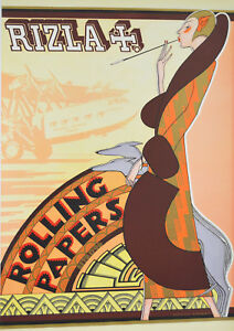 Reproduction Vintage Rizla+ Poster, Rolling Papers , Art Deco