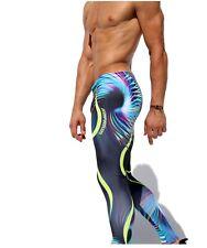 Whirl Rufskin men leggings purple black print  sports gym *Summer Sale*