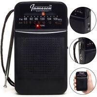*OPEN BOX* Jameson Electronics AM/FM Pocket Portable Battery Operated Radio-BLK