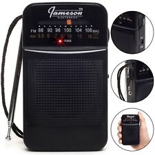 *NEW* Jameson Electronics AM/FM Pocket Portable Battery Operated Black Radio