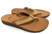 efc802649a Teva Azure Flip Leather Women's Tan Flip Flops Sandals Shoes 1015127 Slip  On New