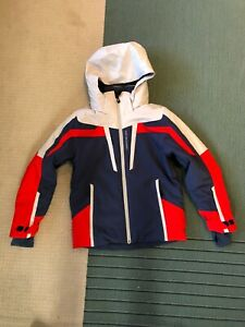 "OBERMEYER BOYS TEEN ""S"" INSULATED SKI PARKA BLUE GRAY RED LINED W/HOOD"