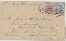 Stamp 1880 Victoria 6d blue uprated 2d violet on cover sent Melbourne to Canada