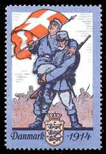 Denmark Poster Stamp - Soldiers 1914 - Sold to Benefit Red Cross - A&L #1050