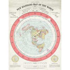 Map Gleason 1892 World Time Calculator Flat Earth Large Wall Art Print 18X24