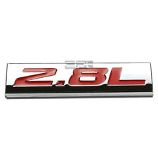 BUMPER STICKER METAL EMBLEM DECAL TRIM BADGE POLISHED CHROME RED 2.8L 2.8 L