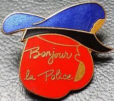 "Vintage 1970s Quebec Canada Police Red Lapel Pin, ""Bonjour la Police"""