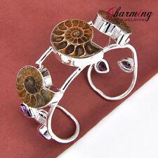 Hot Genuine Natural Ammonite Fossil Amethyst Gemstone Silver Bracelet Bangle