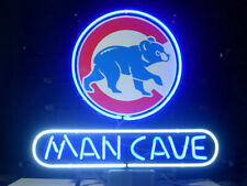 "Chicago Cubs Man Cave Neon Lamp Sign 20""x16"" Bar Light Beer Glass Display Decor"