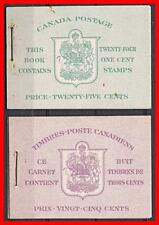 Canada 1942 Kgvi x2 Booklets Mnh