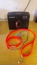 Garmin TT 15 Mini Dog Device GPS Tracking Collar Bundle w/ Dayglo Collar & Leash