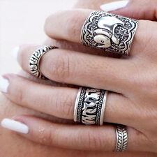 4Pcs Set Vintge Retro Silver Plated Boho Womens Elephant Finger Punk Ring