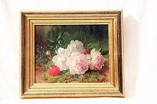 Tableau Brook Pace fine art belles roses avec cadre dorée patine beaux unique