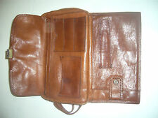 saccoche multipoches vintage cuir G MEN cuir italy belle patine du cuir
