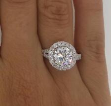 3 Carat Round Cut Halo Diamond Engagement Ring 14k White Gold Finish Jewelry