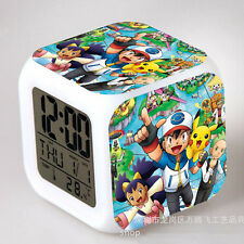 Pokemon Figures 7 Color Changing Night Light Alarm Clock Kids Boy Girl Toy Gift