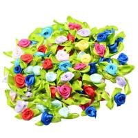 100 Satin Ribbon Tiny Rolled Rose Bud Flower Craft Decor Sewing Applique DIY