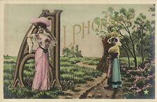 Alphabet letter A Alphonsine ladies vintage photo postcard