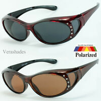 1 Pair POLARIZED Rhinestone cover put over Sunglasses wear Rx glass fit driving