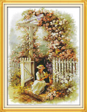 Joy Sunday Counted Cross Stitch Kit 14 CT Garden Girl 17in * 21in Embroidery Kit