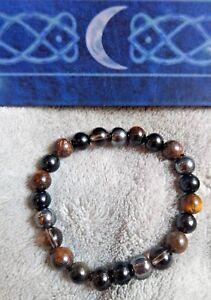 protection crystal healing bracelet black tourmaline, tigers eye, obsidian