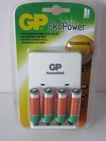 GP Eko Power Economical Plus 4 Pre-Charged AA Batteries Wall Charger Battery