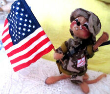 """New listing Vint Annalee 1991 Cloth 6"""" Mouse Army Doll Clothes & Usa Flag Great Veteran Gift"""