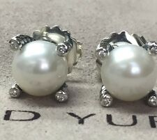 Post Cable Pearl Earrings Diamonds 9.5mm New listing