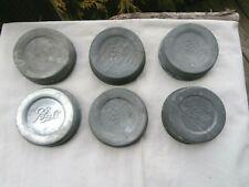 6 Vintage Ball Mason Zinc Jar Lids PORCELAIN Insert -  very good