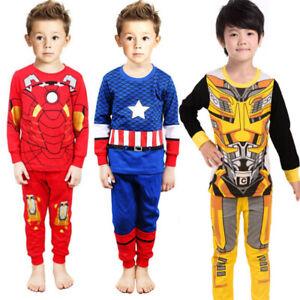 Kids Baby Boys Girls Marvel Superhero Character Long Pyjamas Nightwear Outfits