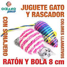JUGUETE RASCADOR GATO RATÓN MULTICOLOR CON BOLA SONAJERO 8 cm CALIDAD L126 3172