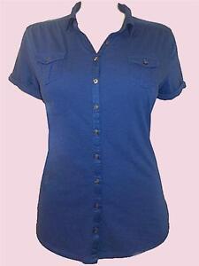 NEW F/S Ex MARKS & SPENCER Navy Blue Cotton Button Through Shirt UK 16