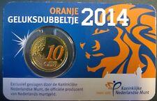 Coincard Oranje geluksdubbeltje 2014 met gekleurd dubbeltje