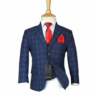Boys Checkered Navy Suits Page Boy Blue Check Suit Kids Wedding Prom Formal Set