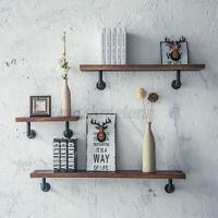 Vintage Industrial Iron Pipe Wooden Floating Wall Shelf Storage Rack Shelving US