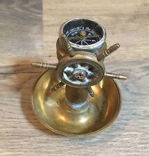 Vintage Brass Ships Wheel Compass Ash Tray- Read Description- Soldered- Rare
