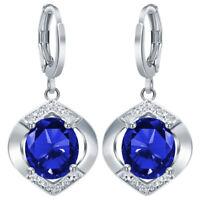 Vintage Women Blue Sapphire Wedding Engagement Jewelry Drop Dangle Earrings