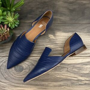 NEW Sarto by Franco Sarto Toby Pointed Toe D'Orsay Flats Loafer Navy Leather 9M