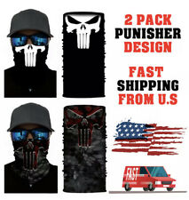 1 Black/While, 1 BlackOut Punisher Face Shield. Total of 2. Free Shipping