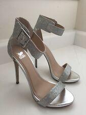 Shiekh Shoes Glitter Ankle Strap Open Toe 5�� Heels Silver Glitter Size 7
