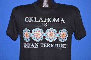 vintage 80s OKLAHOMA IS INDIAN TERRITORY BLACK NATIVE AMERICAN t-shirt SMALL S