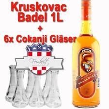 Kruskovac Badel Birnenlikör 1L Birnenschnaps Likör Kroatien +6 Cokanji Gläser