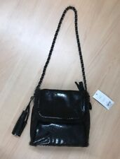 NEW French Connection Black Patent Shoulder Bag Chain Strap Handbag Evening BNWT