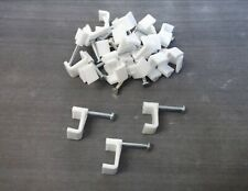Flat cable clips. 10mm. White. Fixing nail. Twin&Earth. Pack of 40 *Top Quality!